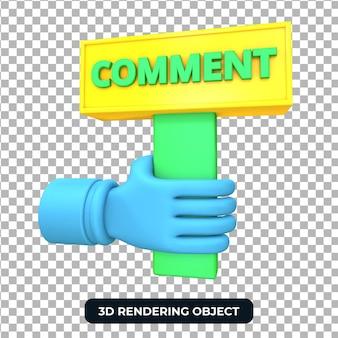Mão segurando a placa de comentário 3d render isolada
