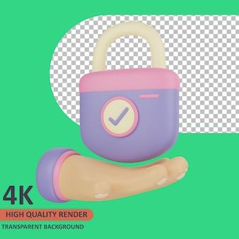Mão segurando cadeado 3d ilustração de ícone cibernético renderização de alta qualidade