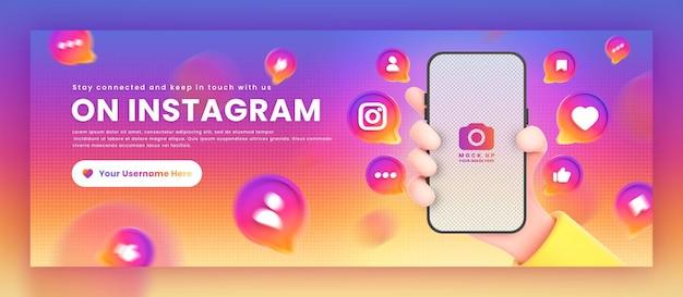 Mão segurando ícones de instagram de telefone em torno da maquete de renderização em 3d para o modelo de capa do facebook de promoção Psd Premium