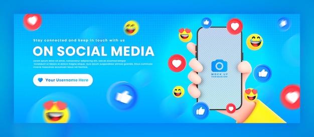 Mão segurando ícones de redes sociais de telefone em torno da maquete de renderização para o modelo de capa do facebook