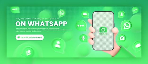 Mão segurando ícones de telefone whatsapp ao redor da maquete de renderização em 3d para promoção do modelo de capa do facebook