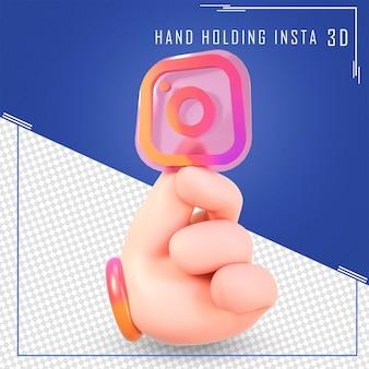 Mão segurando ícones do instagram com renderização em 3d