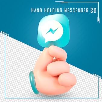 Mão segurando ícones do mensageiro com renderização em 3d
