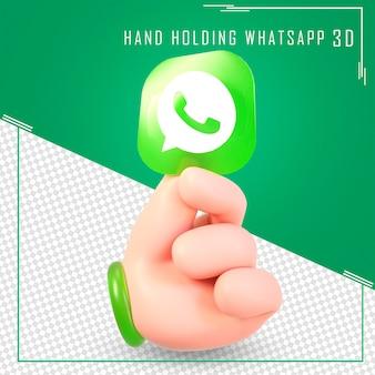 Mão segurando ícones do whatsapp com renderização em 3d