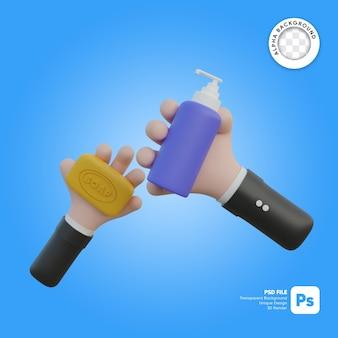 Mão segurando o sabão e ilustração 3d do frasco de sabão