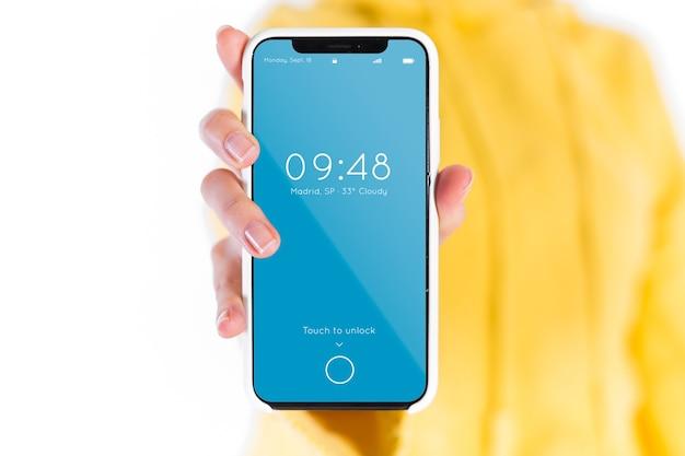 Mão, segurando, smartphone, mockup