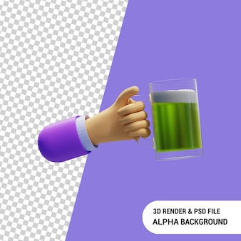 Mão segurando uma caneca de cerveja 3d render premium psd