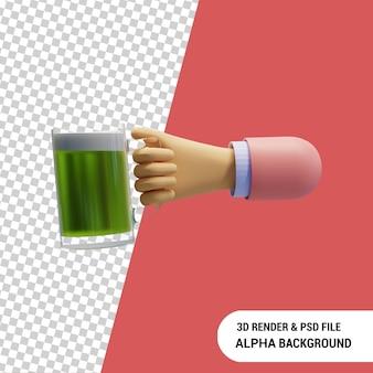 Mão segurando uma caneca de cerveja ilustração 3d render psd