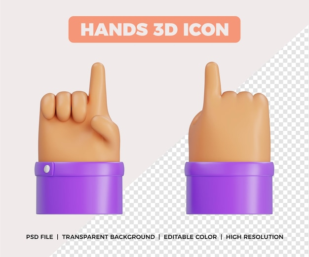 Mãos 3d apontando gesto