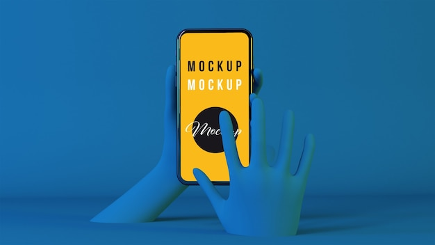Mãos 3d usando maquete de smartphone