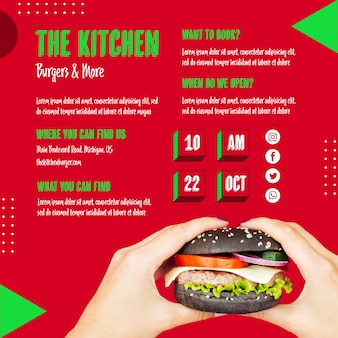 Mãos segurando um menu de cozinha de hambúrguer