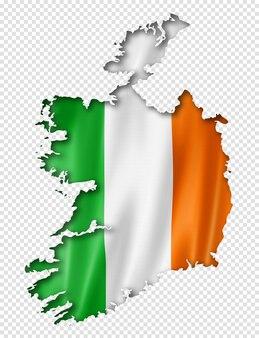 Mapa da bandeira da irlanda em renderização tridimensional isolado