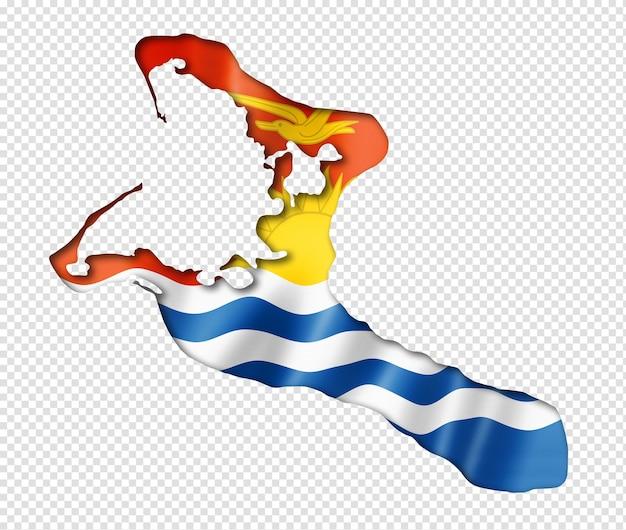 Mapa da bandeira de kiribati em renderização tridimensional isolado