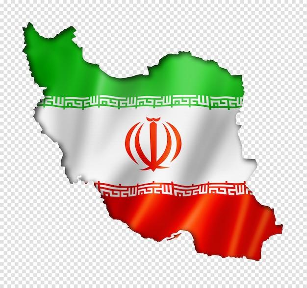 Mapa da bandeira do irã em renderização tridimensional isolado
