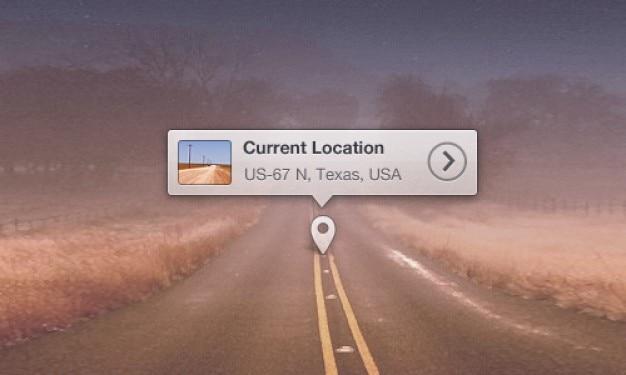 Mapa de localização dica de ferramenta psd