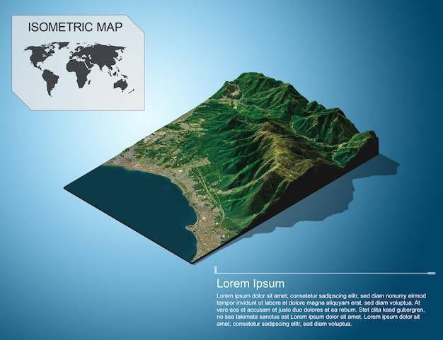 Mapa isométrico virtual terreno 3d para infográfico.
