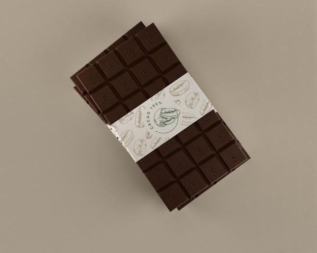Maqueta de embrulho de chocolate puro