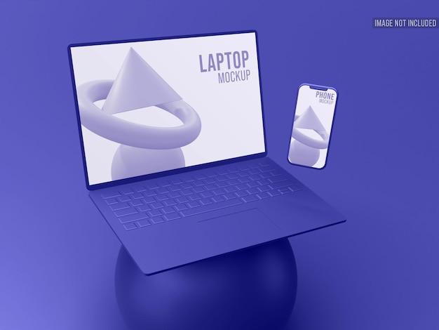Maquete 3d clay para laptop e smartphone