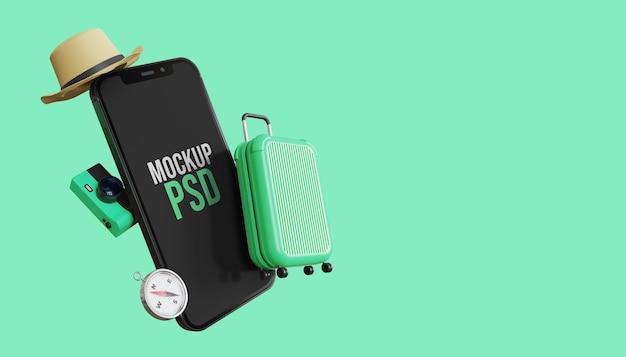 Maquete 3d da tela do smartphone com pacote de viagem