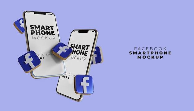 Maquete 3d da tela do smartphone do facebook
