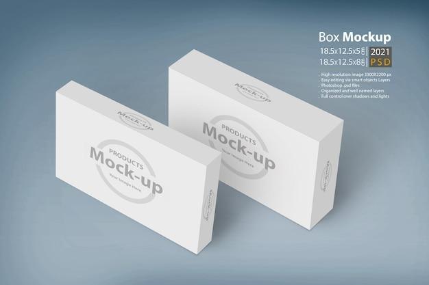 Maquete 3d de caixas brancas em fundo azul claro