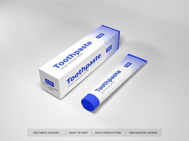 Maquete 3d de embalagem de pasta de dente