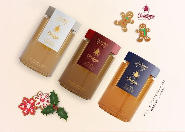 Maquete 3d de frasco de vidro de mel para apresentação do produto