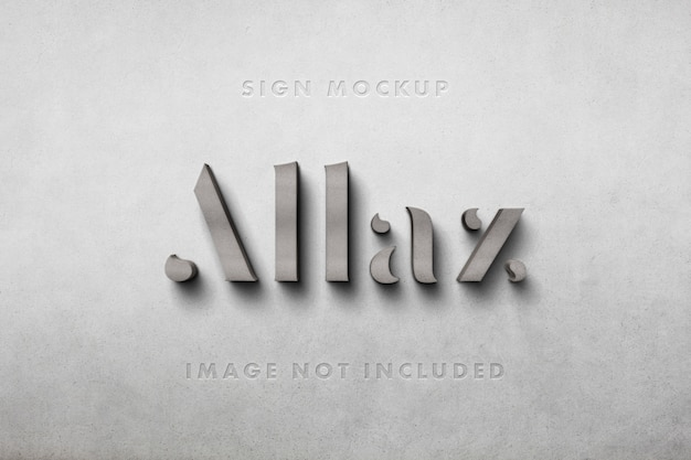 Maquete 3d de logotipo em concreto