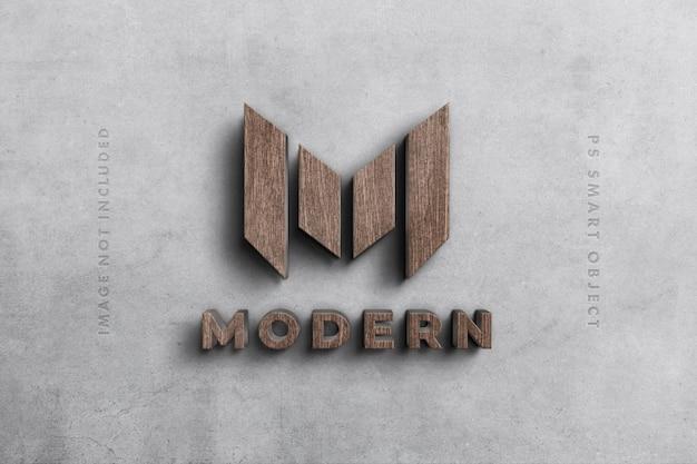 Maquete 3d de logotipo em madeira