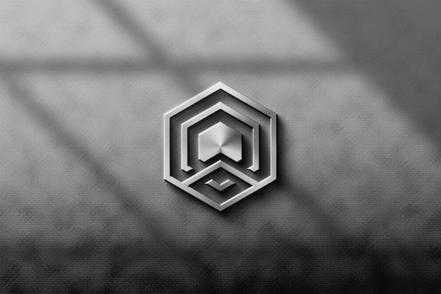 Maquete 3d de logotipo metálico prateado para negócios