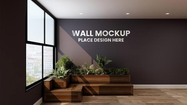 Maquete 3d de parede com cadeira floral na sala de relaxamento