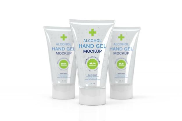 Maquete 3d de pequenos tubos transparentes para desinfetante para as mãos