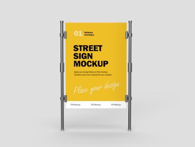 Maquete 3d de placa de rua de metal ao ar livre