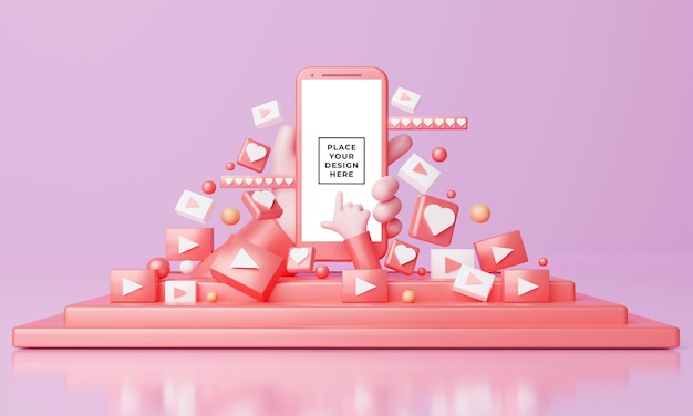 Maquete 3d de smartphone com mãos bonitas dos desenhos animados no palco
