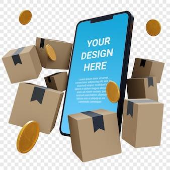Maquete 3d de smartphone com papelão e moedas de ouro isoladas