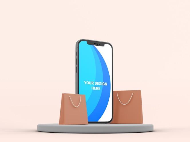 Maquete 3d de smartphone com saco de papel isolado