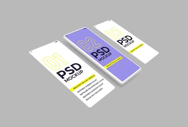 Maquete 3d de smartphone em argila psd para apresentação do projeto