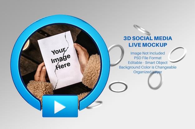 Maquete 3d de streaming ao vivo de mídia social do facebook com anéis voadores