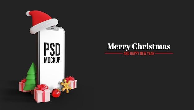 Maquete 3d de tela de smartphone feliz natal