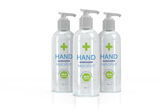 Maquete 3d de três frascos de bomba transparente para desinfetante para as mãos