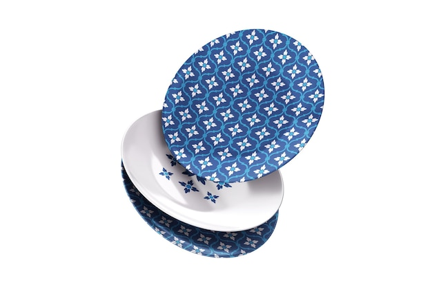 Maquete 3d de três pratos de porcelana caindo com padrão diferente
