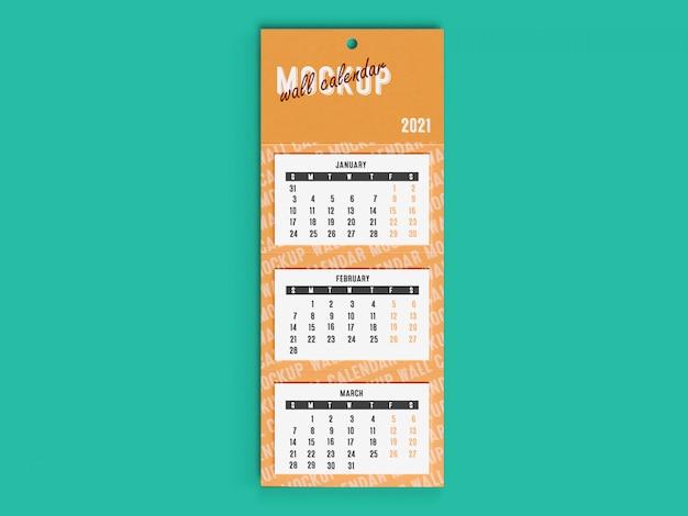 Maquete 3d do calendário de mesa de parede 2021