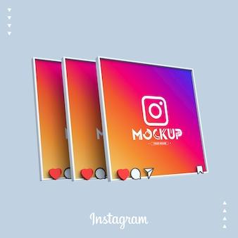 Maquete 3d do instagram com telas de feed