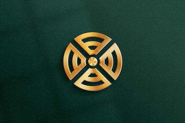 Maquete 3d do logotipo com efeito de metal em papel texturizado