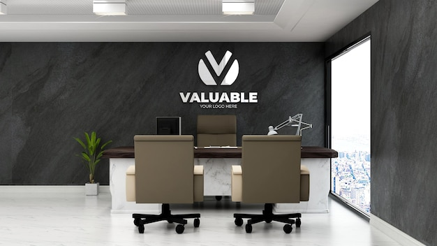 Maquete 3d do logotipo corporativo na moderna sala do gerente de escritório