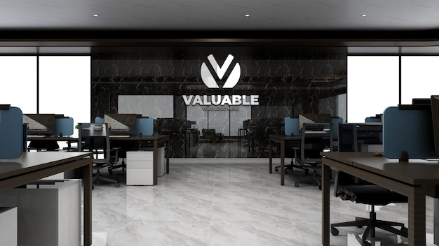 Maquete 3d do logotipo da empresa na área de trabalho de um escritório de luxo