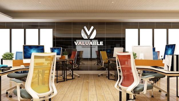 Maquete 3d do logotipo da empresa na área de trabalho do escritório com interior de design luxuoso