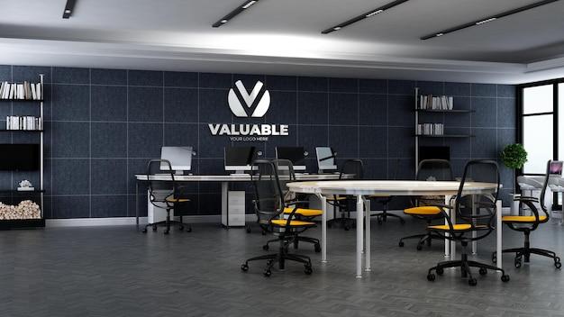 Maquete 3d do logotipo da empresa na área de trabalho do escritório
