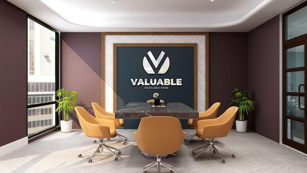Maquete 3d do logotipo da empresa na luxuosa sala de reuniões do escritório