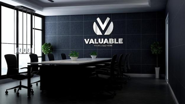 Maquete 3d do logotipo da empresa na moderna sala de reuniões do escritório